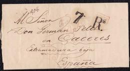"""1841. PARÍS A CÁCERES. FECHADOR """"BUREAU CENTRAL"""" Y """"P.P."""" RECUADRADO. 7Rs REALES. 18 DÉCIMAS SATISFECHAS Y TRÁNSITO. - 1801-1848: Precursores XIX"""