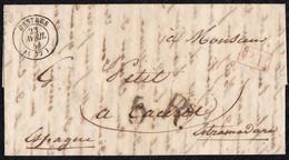 """1842. CASTRES A CÁCERES. FECHADOR Y """"P.P."""" RECUADRADO. PORTEO 5Rs REALES. 9 DÉCIMAS SATISFECHAS Y TRÁNSITO POR BAYONA. - 1801-1848: Precursores XIX"""