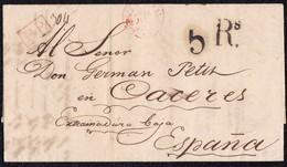"""1842. PARÍS A CÁCERES. FECHADOR """"BUREAU CENTRAL"""" Y """"P.P."""" RECUADRADO. 5Rs REALES. 12 DÉCIMAS SATISFECHAS Y TRÁNSITO. - 1801-1848: Precursores XIX"""