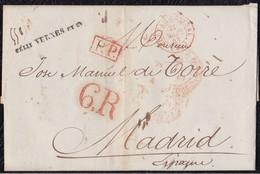 """1843. PARÍS A MADRID. FECHADOR """"BUREAU CENTRAL"""" Y """"P.P."""" RECUADRADO. 6R REALES. 18 DÉCIMAS SATISFECHAS Y TRÁNSITO. - 1801-1848: Precursores XIX"""