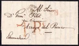"""1844. BAYONA A ARROYO DEL PUERCO. FECHADOR NEGRO Y """"P.P."""" RECUADRADO ROJO. PORTEO 7Rs REALES . 6 DÉCIMAS SATISFECHAS. - 1801-1848: Precursores XIX"""