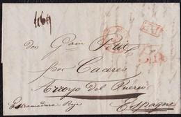 """1845. PARÍS A ARROYO DEL PUERCO. FECHADOR """"BUREAU CENTRAL"""".""""P.P."""" RECUADRADO. 5R Y 12 DÉCIMAS, REMITENTE Y TRÁNSITO. - 1801-1848: Precursores XIX"""
