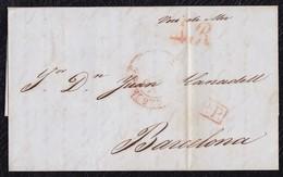 """1848. MARSELLA A BARCELONA. FECHADOR ROJO Y """"P.P."""" RECUADRADO EN ROJO. PORTEO 4R REALES ROJO. MNS. """"VOIE DE MER"""". - 1801-1848: Precursores XIX"""