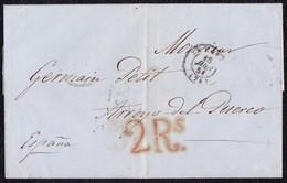 1851. LE HAVRE A ARROYO DEL PUERCO. FECHADOR NEGRO. ESPECTACULAR PORTEO 2Rs REALES ROJO. AL DORSO TRÁNSITO POR PARÍS. - Marcofilia (sobres)