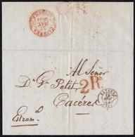 1854. BAYONA A CÁCERES. FECHADOR NEGRO DE BAYONA Y PORTEO 2Rs REALES ROJO DE CÁCERES. AL DORSO FECHADOR DE LLEGADA. - Marcofilia (sobres)