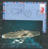 P.A CLEMENCEAU -  Mission PROMETHEE - Tàd  Clem 06/12/87 + CP Neuve - Marcophilie (Lettres)