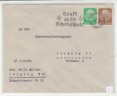 Germany, Denkt An Die Arbeitsschlacht Slogan Pmk On Letter Cover Travelled 1934 Leipzig Pmk B180710 - Cartas