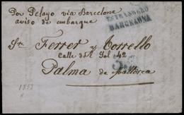 42 07/08/53. Preciosa Carta Con Texto Impreso Y Fechada En Marsella Cda A Palma - 1850-68 Kingdom: Isabella II