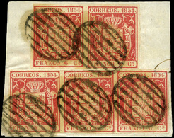43 Fragmento De Carta Con 5 Ejemplares (2+3) Lujo. Escasa - 1850-68 Kingdom: Isabella II