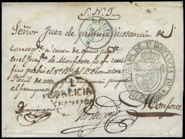 """61 1855. De Chantada (Lugo) A Monforte Con Marca Prefilatélica """"Chantada"""" - 1850-68 Kingdom: Isabella II"""