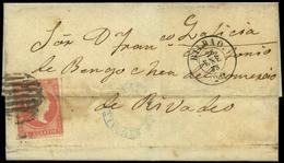 """64 Ed. 48 Sobreescrito Con Mat. Prefilatélico """"Portugalete-Vizcaya"""" (azul) - 1850-68 Kingdom: Isabella II"""