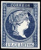 69 Ed. Año 1859 NO EMITIDO. 12 Cuartos Ensayo Color Azul Oscuro (Galvez 212) Lujo. Escaso. - 1850-68 Kingdom: Isabella II