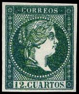 70 Año 1859 NO EMITIDO. 12 Cuartos Ensayo Color Verde Negro (Galvez 214) Lujo. Escaso. - 1850-68 Kingdom: Isabella II