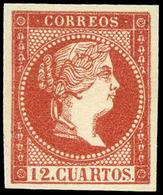 71 Año 1859 NO EMITIDO. 12 Cuartos Ensayo Color Rosa Pálido (Galvez 219) Lujo. Escaso. - 1850-68 Kingdom: Isabella II