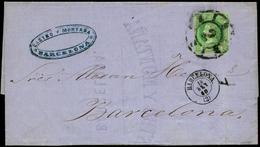 72 Ed. 51 Carta Cda Correo Interior En Barcelona - 1850-68 Kingdom: Isabella II
