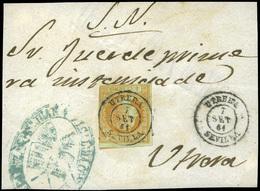 """80 Ed. 52 Plica Cda Mat. Fechador Tp. II """"Utrera"""" - 1850-68 Kingdom: Isabella II"""