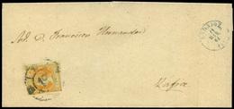 """83 Ed. 52 Cda Con Mat. R.C. """"19-Badajoz"""" (azul) Lujo. Muy Raro. - 1850-68 Kingdom: Isabella II"""