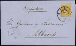 """84 Ed. 52 1852. Cda De Valencia A Albacete Con Indicación """"por Vapor Correo"""" - 1850-68 Kingdom: Isabella II"""