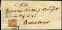 86 Ed.  52F Sobreenvuelta Cda Con Falso Postal - 1850-68 Kingdom: Isabella II