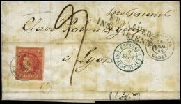 """94 Ed. 53 1861. De Puerto Real A Lyon. Marca """"Franqueo Insuficiente"""" - 1850-68 Kingdom: Isabella II"""