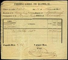 """101 RECIBO De Expedición """"Ferrocarril De Isabel II 18/Mayo/1861"""" Interesante - 1850-68 Kingdom: Isabella II"""