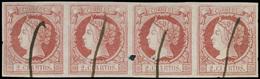102 ENSAYO Color. 2 Reales Rosa. Usado A Pluma (Galvez 250). Tira De 4. Raro. - 1850-68 Kingdom: Isabella II