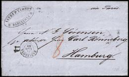 103 Cda Sin Sellos, De Barcelona A Hamburgo - 1850-68 Kingdom: Isabella II