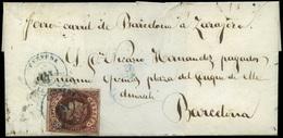 107 Ed. 58 1862. De Cervera A Barcelona - 1850-68 Kingdom: Isabella II