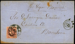 "108 Ed. 58 Sobreenvuelta Cda Por Correo Marítimo A Barcelona ""por Vapor Barcino"" - 1850-68 Kingdom: Isabella II"