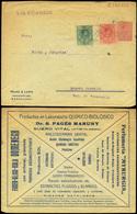 785 0 Laiz - Medallón.  Sobre Anunciador 10 Cts. Rojo + Franqueo Complementario 268+269. - Stamped Stationery