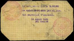 """1032 1936. """"La Moto Marca......... Ha Estat Requisada Per El Partit Republicá D'esquerra 16/Ag/1936 Pel Comité....."""" - 1931-Today: 2nd Rep - ... Juan Carlos I"""