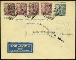 """1188 Tanger - Ed. 923(4)+España 925 """"Correo Aereo Tánger 05/02/40"""" Cda A Palma Por Avión """"Ala Litoria"""" Rara Marca - Spanish Morocco"""