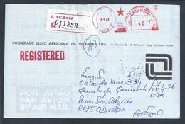Carta Registada De S. Vicente, Cabo Verde. Registered Letter From S. Vicente, Cape Verde. Einschreiben S. Vicente - Isola Di Capo Verde