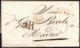 """1818. BURDEOS A MADRID. MARCA """"P.32.P./BORDEAUX"""" ROJO. PORTEO """"5.R"""" REALES NEGRO. AL DORSO MNS. """"5"""" DÉCIMAS SATISFECHAS. - Espagne"""