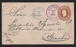 COSTA RICA COLUMBUS POSTAL STATIONERY SAN RAMON 1906 GENEVA SWITZERLAND WATERLOW - Costa Rica