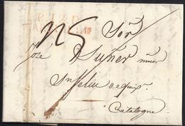 """1820. MARSELLA A SANT FELIU DE GUÍXOLS. MARCA """"P.12.P./MARSEILLE"""" ROJO. PORTEO """"5"""" REALES Y TRAZO FRANQUEO. """"9"""" DÉCIMAS. - España"""