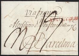 "1820. LONDRES A BARCELONA. MARCA ""ANGLETERRE"" ROJO. PORTEO MNS. ""4/4"" CHELINES/PENIQUES. TASA CON 19 REALES. DOBLE PORTE - España"