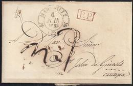 """1830. MARSELLA A SANT FELIU DE GUÍXOLS. FECHADOR TIPO FLORÓN Y """"P.P."""" RECUADRADO. PORTEO MNS. """"7"""" REALES. DESINFECTADA. - Espagne"""