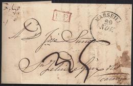 """1832. MARSELLA A SANT FELIU DE GUÍXOLS. FECHADOR Y """"P.P."""" RECUADRADO. PORTEO MNS. """"5"""" REALES. CARTA DESINFECTADA. - España"""