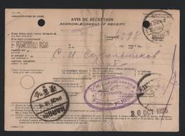 CHINA RUSSIAN MAIL 1926 A.R. RECEIPT MANCHURIA HARBIN MANCHOULI - China