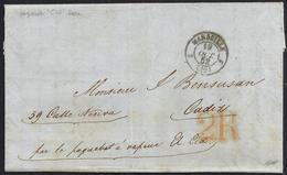"""1852. MARSELLA A CÁDIZ. FECHADOR NEGRO Y PORTEO """"2R"""" REALES NARANJA. MNS. """"PAR LE PAQUEBOT À VAPEUR EL CID"""". LLEGADA. - 1850-68 Königreich: Isabella II."""
