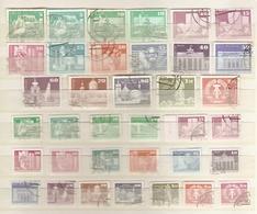 Allemagne DDR 1973/81 - Constructions Socialistes - 2 Séries Complètes° - Grand Et Petit Format + Variétés De Papier - Oblitérés
