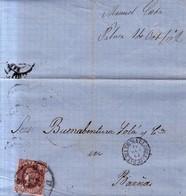 Año 1862 Edifil 58 4c Isabel II  Carta    Palma Matasellos  Rueda De Carreta 37 Baleares - 1850-68 Königreich: Isabella II.