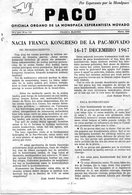 ESPERANTO)  PACO -OFFICIALA DE LA MONDPACA ESPERANTISTA MOVADO -N172 MARS 1968 -AVEC COURRIER  CONGRES Français - Cultura