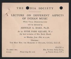 INDIA MUSIC ARNOLD BAKE DUTCH ETHNOMUSICOLOGIST 1934 - Tickets - Vouchers
