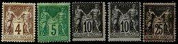 FRANCE, Sage, (*)/* MNG/MLH, F/VF - 1876-1878 Sage (Type I)