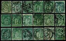 FRANCE, Cancels, Yv 64, 75, 102, 106, Used, F/VF - Marcophily (detached Stamps)