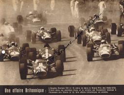 AUTOMOBILE, F1 : PHOTO, GRAND PRIX DES ETATS-UNIS, WATKINS GLEN, GRAHAM HILL, JIM CLARK, LOTUS, COUPURE REVUE (1967) - Car Racing - F1