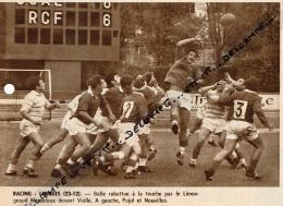 RUGBY : RACING-LIMOGES, COLOMBES, CHAMPIONNAT DE FRANCE,  MASSALOUX, VIOLLE, PUJOL, NOUAILLES, COUPURE REVUE (1967) - Rugby