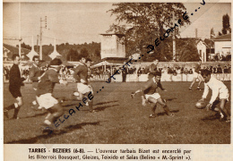 RUGBY : TARBES-BEZIERS (6-8), CHAMPIONNAT DE FRANCE, BIZET, BOUSQUET, TEIXIDO, SALAS, COUPURE REVUE (1967) - Rugby